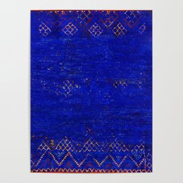 V11 Calm Blue Printed of Original Traditional Moroccan Carpet Poster