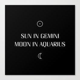 Gemini/Aquarius Sun and Moon Signs Canvas Print