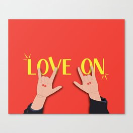 Love On Sign (I Love You) Language Hands - Red and Yellow Colorway Canvas Print