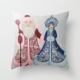 Father Frost and Snow Maiden in petrykivka style Throw Pillow