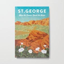 St George, Utah - Vintage Style Travel Poster Metal Print