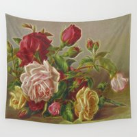 vintage flowers Wall Tapestries featuring Vintage Flowers by Lucia