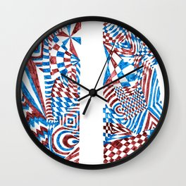 Striped Fish, Red/Blue Abstract Design (Ink Drawing) Wall Clock