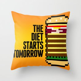 Diet Burger Throw Pillow