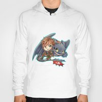 hiccup Hoodies featuring Httyd 2 - Chibi Hiccup and Toothless by ibahibut