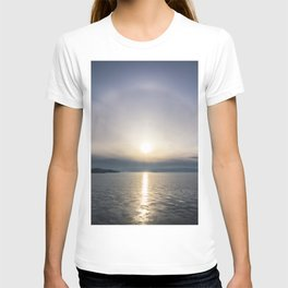 Halo over ice of lake Baikal T-shirt