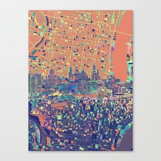 philadelphia city skyline map Canvas Print