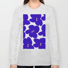 Blue Retro Flowers #decor #society6 #buyart Long Sleeve T-shirt