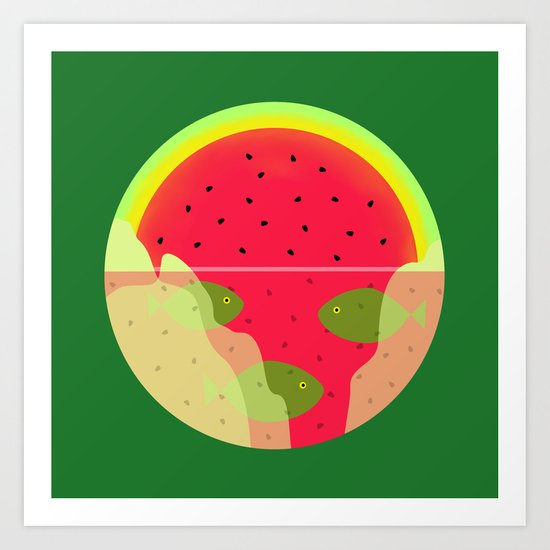 Watermelon Underwater Scene Art Print