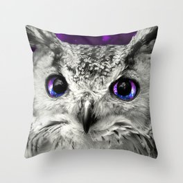 Galaxy Owl Eyes Throw Pillow
