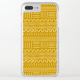 Mud Cloth on Mustard Clear iPhone Case