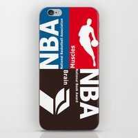 nba iPhone & iPod Skins featuring NBA. Muscles or Brain ? by Vintage Deco Print Posters