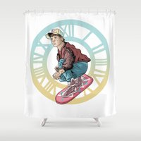 back to the future Shower Curtains featuring Back to the future by jorgeink