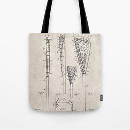 Lacrosse Stick Patent - Lacrosse Player Art - Antique Tote Bag