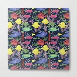 Reef Fish (navy background) Metal Print