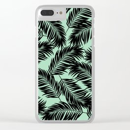 Palm Frond Tropical Décor Leaf Pattern Black on Mint Green Clear iPhone Case