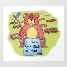 Sad bear & friend Art Print