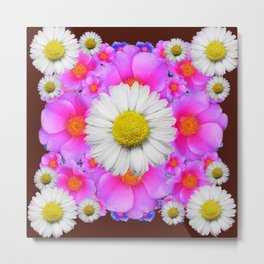 Colorful Fuchsia Rose Bouquet Garden Shasta Daisies Metal Print