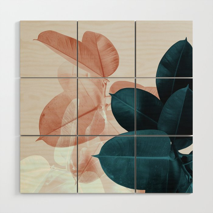 Blush Blue Leaves Wood Wall Art By Printsproject