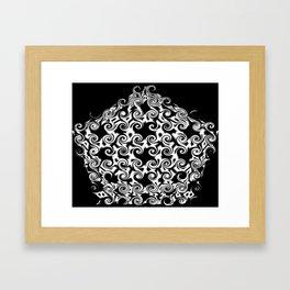 Curlicues Pentagon Black and White Pattern Framed Art Print