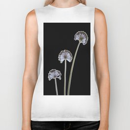 three flowers on black background Biker Tank