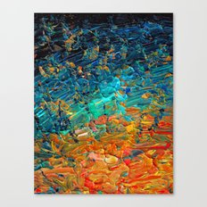 ETERNAL TIDE 2 Rainbow Ombre Ocean Waves Abstract Acrylic Painting Summer Colorful Beach Blue Orange Canvas Print