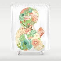 ampersand Shower Curtains featuring Ampersand by courtneeeee