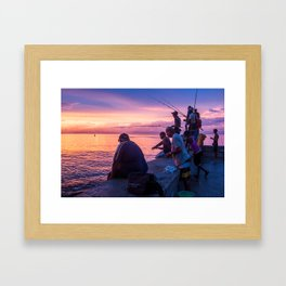 Fisherman at the Malecón Framed Art Print