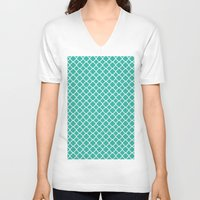 turquoise V-neck T-shirts featuring Turquoise  by EVNF