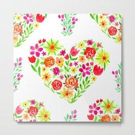 Sweet Floral Heart Metal Print