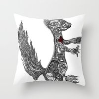 greg guillemin Throw Pillows featuring Squirrel by Greg Phillips by SquirrelSix