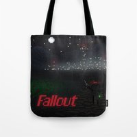fallout Tote Bags featuring Fallout Pixels by Kazisvet