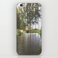 outdoor iPhone & iPod Skins featuring Outdoor River Campsite by Tianna Chantal