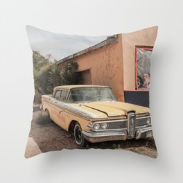Old American Car On Famous Route 66 In Arizona | Travel Photography Throw Pillow