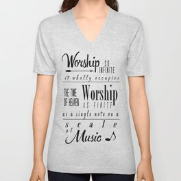 Worship Infinite and Finite Unisex V-Neck