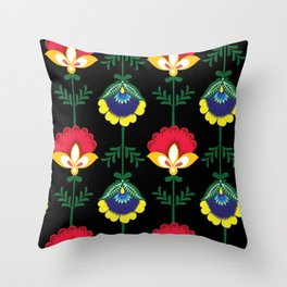 Colorful Ethnic Folk Flowers Throw Pillow