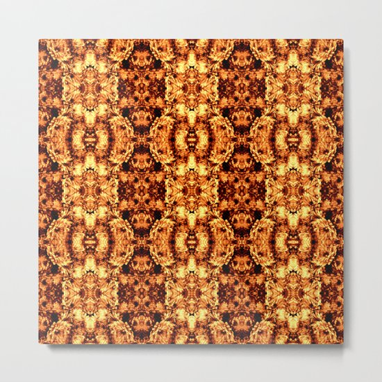 Brown Yellow  Flower Pattern Metal Print