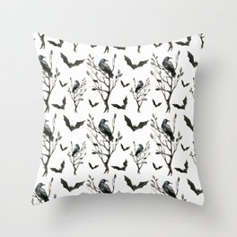 Happy Halloween pattern with hollow trees, ravens and bats Throw Pillow