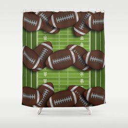 Football Field with Rows of Footballs Shower Curtain