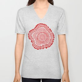 Red Tree Rings Unisex V-Neck