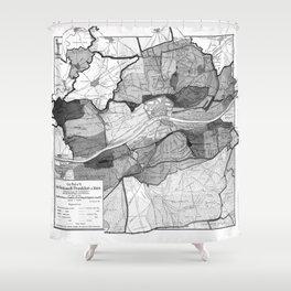 Vintage Map of Frankfurt Germany (1905) BW Shower Curtain