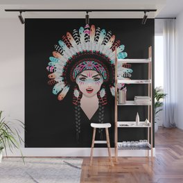 Native american woman wearing war bonnet, tribal portrait design Wall Mural