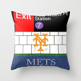 NYC Mets Subway Throw Pillow