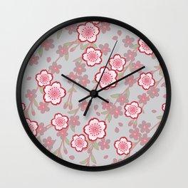 Japanese Vintage Floral Kimono Pattern with Pink Sakura Wall Clock