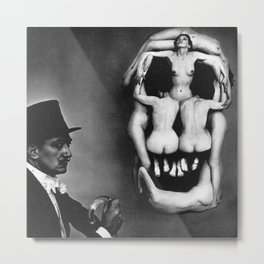 Women Forming the Skull of Dail black and white artistic photograph Metal Print