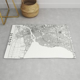 Detroit White Map Rug