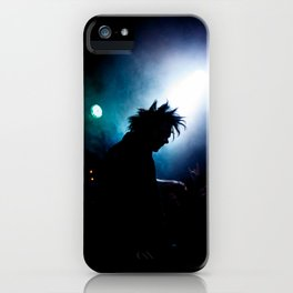 silhouette of a punk rock artist in the spotlight iPhone Case