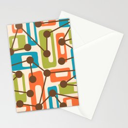 Mid Century Modern Atomic Nucleus Pattern 421 Stationery Cards