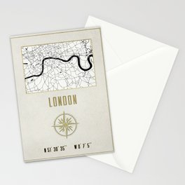 London - Vintage Map and Location Stationery Cards