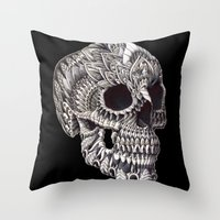 ornate Throw Pillows featuring Ornate Skull by BIOWORKZ